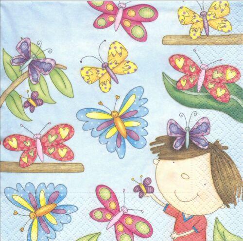 2 Serviettes en papier Fillette Papillons Paper Napkins Butterfly Girl