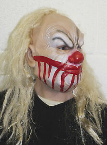 Smiley The Killer Clown Mask with Blond Wig Latex Fancy Dress Costume Halloween