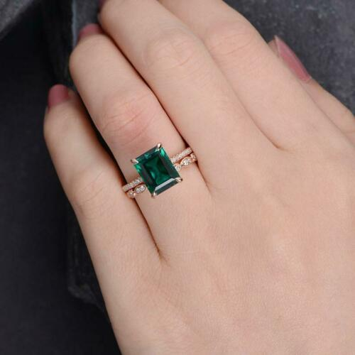 3Ct Emerald Cut Green Emerald Bridal Solitaire Engagement Ring 18K Rose Gold Fn