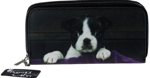 Large Black And White Puppy Dog Design Ladies Purse