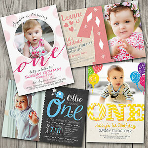 Personalised 1st Birthday Invitations First Party Invites Boy Girl