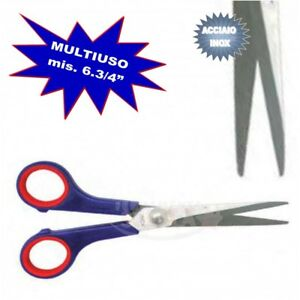 FORBICI-MULTIUSO-ACCIAIO-INOX-MIS-6-3-4-039-MANICO-ROSSO-BLU-X-CASA-UFFICIO-FORBICE