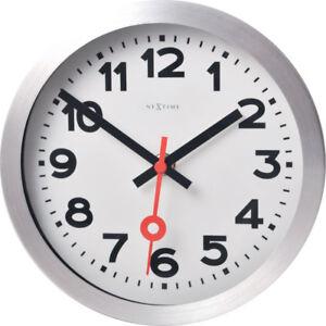 Details zu NeXtime Wanduhr Ø19cm Tischuhr Bahnhofsuhr STATION lautlos weiß  Wohnzimmer Uhr