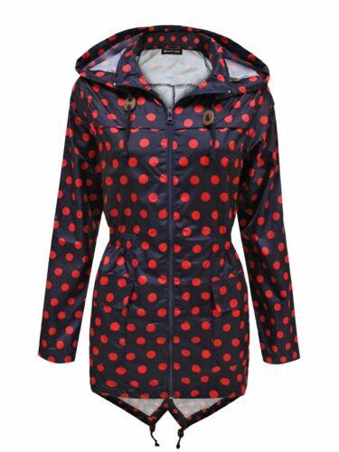 Ladies pioggia Mac Impermeabile da Donna Fishtail Parka Kagool Festival Giacca Cappotto 8-20