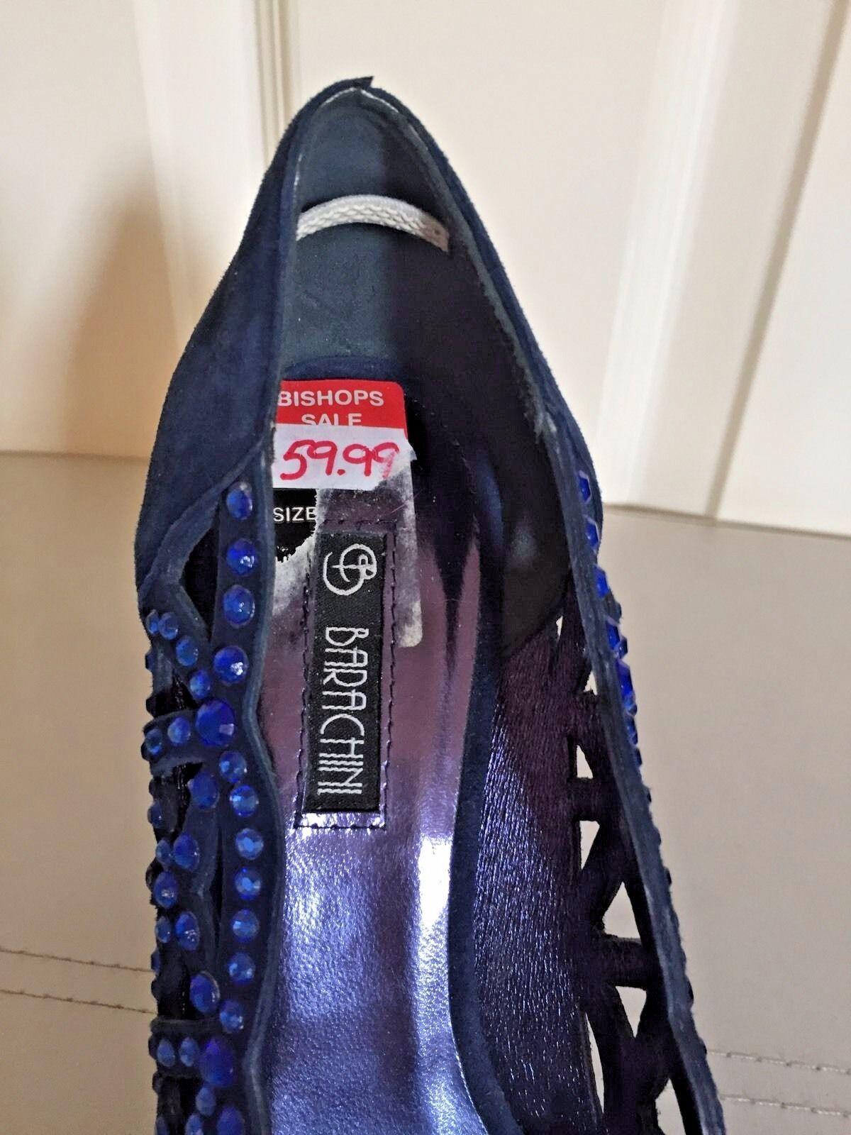 BARACHINI EU Blau SUEDE Schuhe, STUDDED/ STONES/ SIZE UK 3, EU BARACHINI 36/ DRESSY PEEP TOES aec659