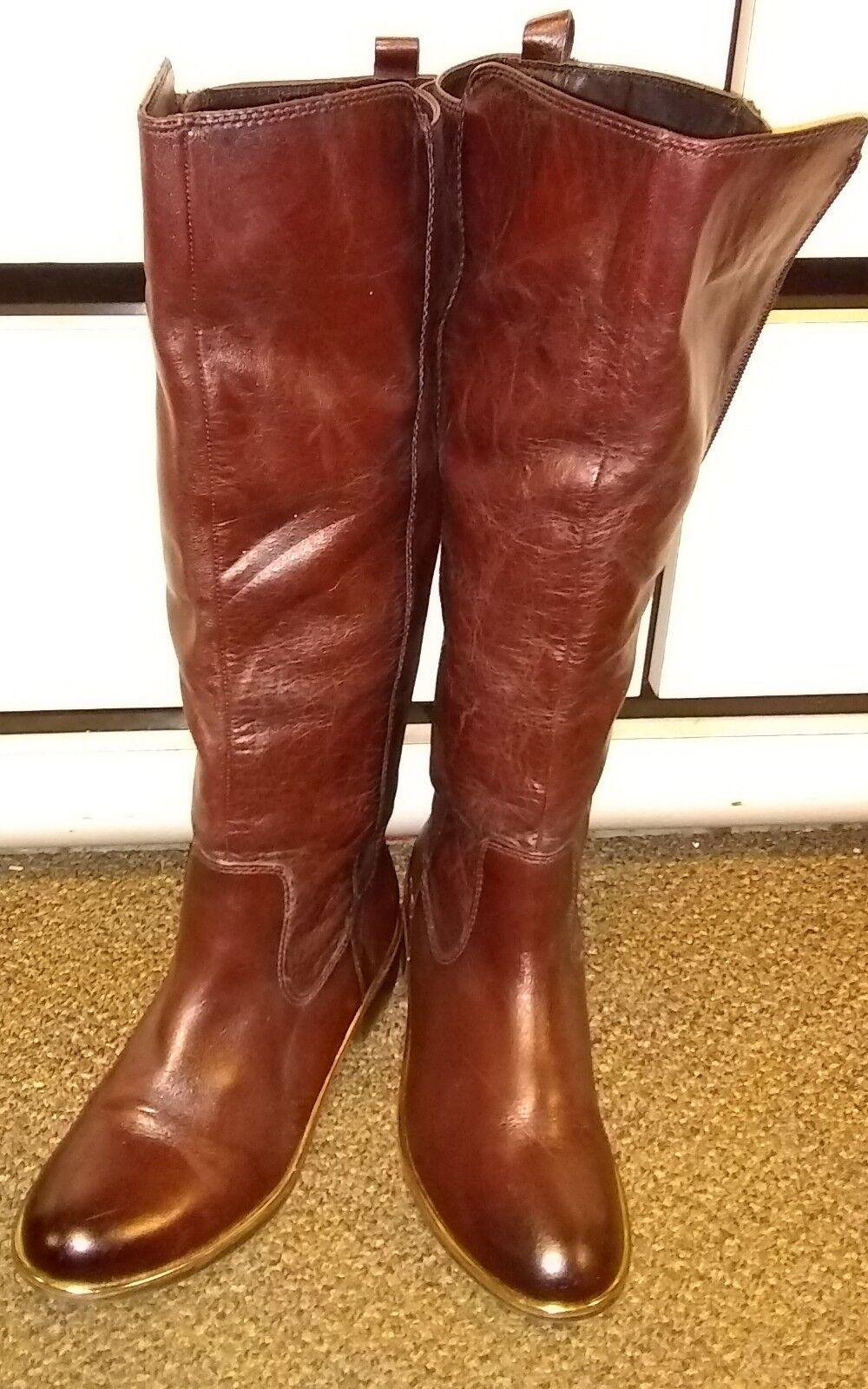 Aldo Cognac Cherrie 100% Leather Riding stivali