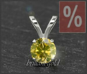 Diamant-585-Gold-Damen-Anhaenger-0-18ct-Brillant-in-fancy-yellow-gelb-Weissgold