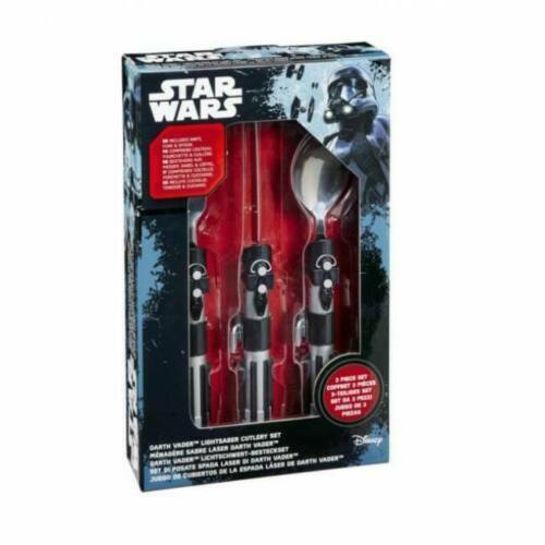 OFFICIAL DISNEY STAR WARS CUTLERY SET DARTH VADER LIGHTSABER HANDLES.