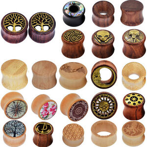 PAIR-Natural-Wood-Ear-Gauges-Flesh-Tunnels-Double-Flared-Ear-Plugs-US-STOCK