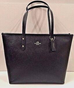 025d42ead780 New Coach 58846 City Zip Tote Crossgrain Leather handbag Black ...