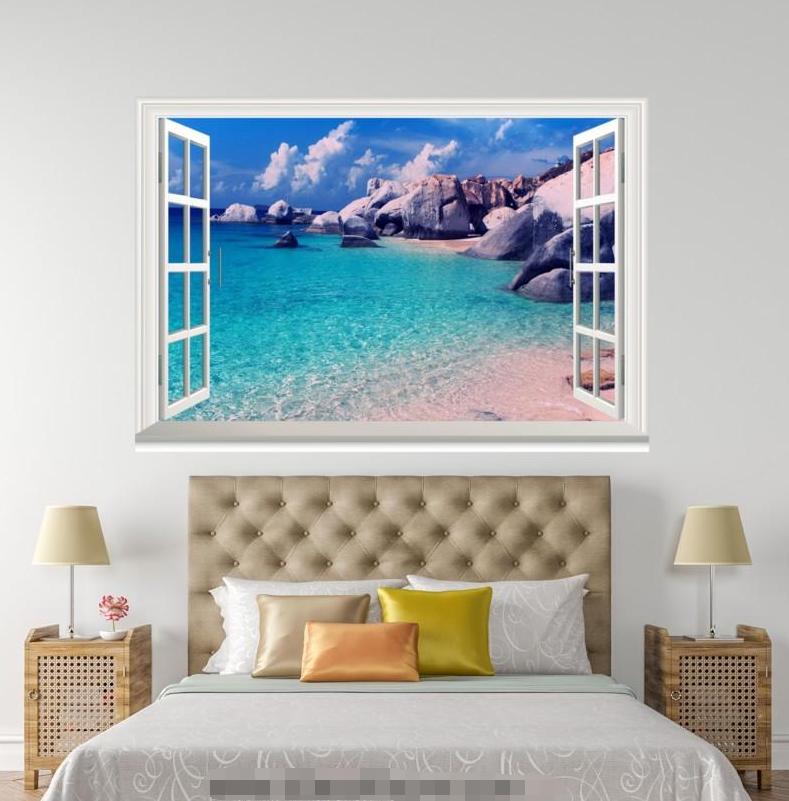 3D Blau Ocean Ocean Ocean 666 Open Windows WallPaper Murals Wall Print Decal Deco AJ Summer 868293