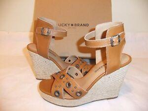 4dfed4888 Image is loading LUCKY-BRAND-Leander-Brown-Leather-Wedge-Platform-Sandal-