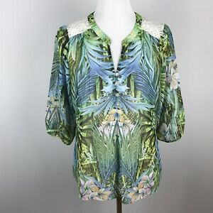 Anthropologie-Fig-and-Flower-Womens-Floral-Boho-Blouse-Top-Lace-Size-Small-Green