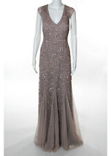 NWT AIDAIN MATTOX Mauve Pink Bead Sequin Cap Sleeve Long Formal Dress Sz 12 $485