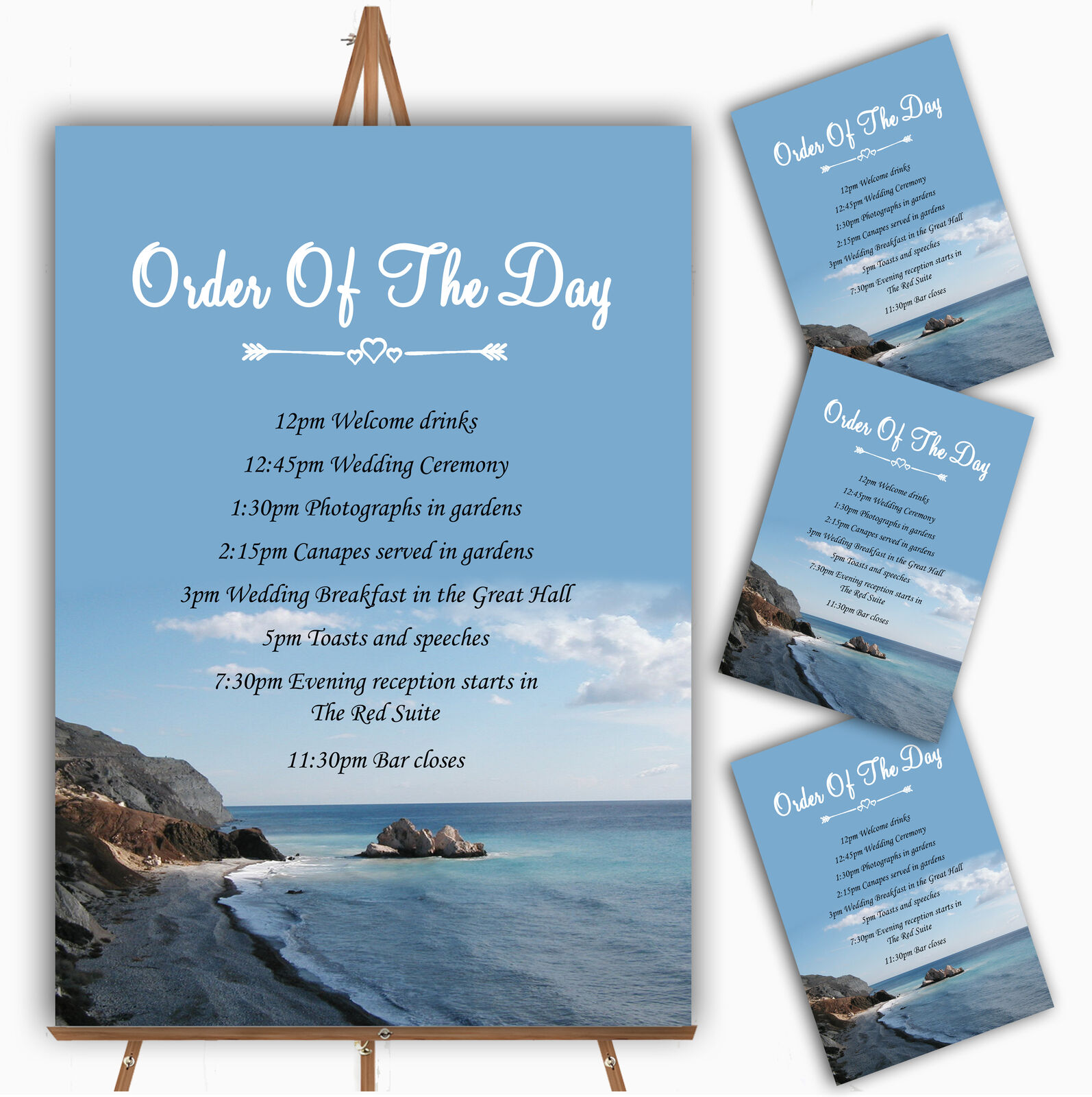 View Of A Cyprus Beach Abroad Personalised Wedding Order Of The Day Cards