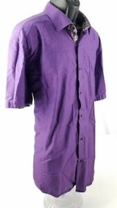 Sergio-Kachatti-London-Men-039-s-Short-Sleeve-Button-Front-Shirt-Size-4XL-Purple