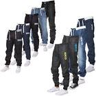 ENZO Mens Cuffed Jeans Regular Leg Casual Denim Jogger Pants All Size Sale