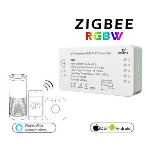 ZigBee RGB+CCT RGBW Controller+5050 LED Strip+Power Supply For Echo Plus Google