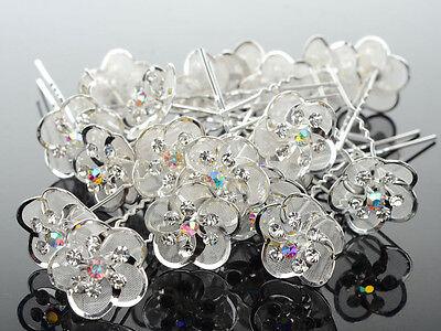 10/20/40 Lot Crystal Diamante Pearl Flower Bridal Wedding Prom Hair Pins Clips