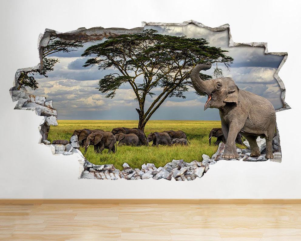 F459 elefanti Mandria Safari stanza del vinile adesivo da parete camera bambini