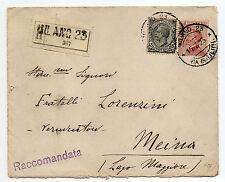 STORIA POSTALE 1923 REGNO C.15+85 SU RACCOMANDATA MILANO 15/3 Z/1685