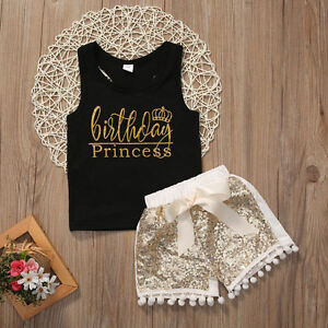 Toddler Baby Girl Birthday Vest Top Sequin Short Pants Outfit Clothes Summer Set