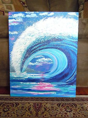 Huge Ocean Wave, Acrylic Painting, Deco, Art, 16x20, NOT A PRINT