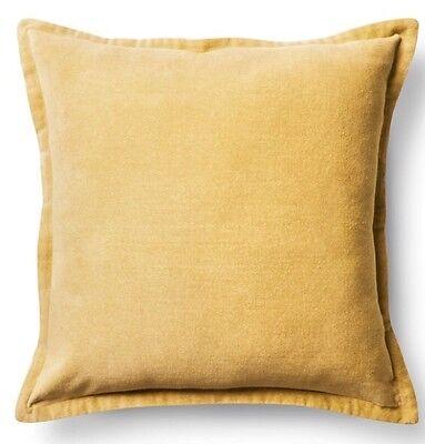 Threshold Yellow Velvet Throw Pillow Cover New 18 X 18 In