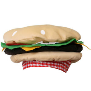 BURGER HAT FUNNY FAST FOOD FANCY DRESS CHEESEBURGER NOVELTY UNISEX ADULT CAP