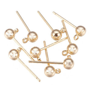 975f1499b 10x Real Gold Ear Stud Post W/ Ball and Loop 6x4mm Brass Plated ...