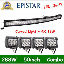 50'' 288W CURVED LED LIGHT BAR FLOOD SPOT+4X 4''18W CREE TRUCK OFFROAD 12V24V OF