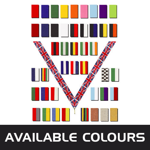 PACK OF 10x RED,WHITE,BLUE MEDAL RIBBONS WITH CLIPS WOVEN 22mm WIDE 3 PACK SIZE