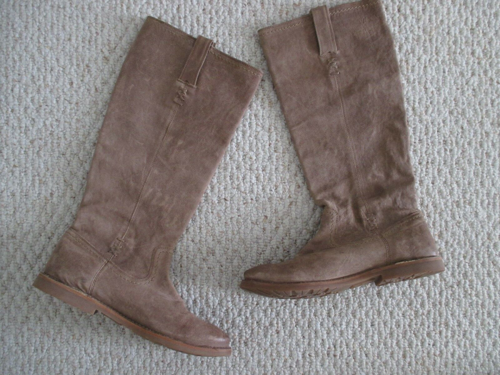 FRYE Celia X Stitch Taupe Leather Riding Boots Size 9.5