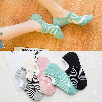 5 Pairs Women Invisible No Show Nonslip Loafer Boat Ankle Liner Cotton Socks New
