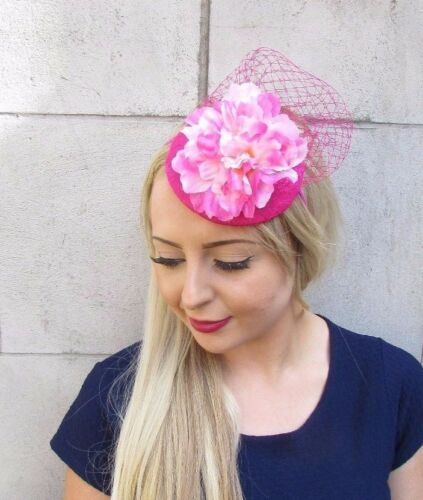 Hot Light Pink Flower Fascinator Pillbox Hat Races Wedding Net Statement 3896