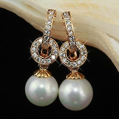 Ohrringe Perlen Zirkonia 585 Gold 14 Karat Vergoldet O1642-3s VerrüCkter Preis