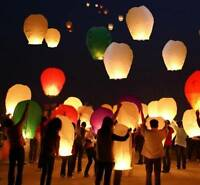100 Paper Chinese Sky Wish Lanterns Fly Candle Lamp Wish Party Wedding Us Seller