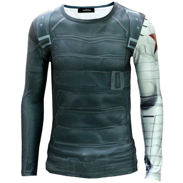 Men Printing Long Sleeve T- Shirt Captain America II The Winter  Soldier Cosplay