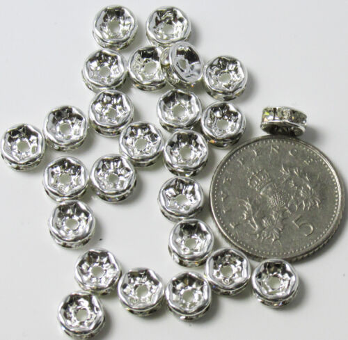 25 Superior /'A/' Grade 6mm Rhinestone Rondelle Spacer Beads ~ Straight Edge UK