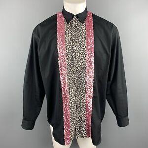COMME-des-GARCONS-HOMME-PLUS-Size-S-Black-Cotton-Leopard-amp-Pink-Sequin-Shirt