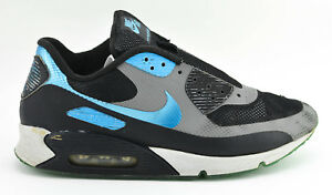 Details about MENS NIKE AIR MAX 90 HYPERFUSE SHOES SIZE 11.5 PREMIUM ID 488033 BLACK GRAY BLUE