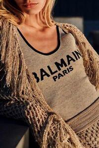BALMAIN-1150-Beige-amp-Black-Knit-Bodysuit-With-Balmian-Logo
