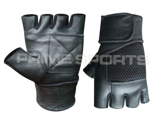 107 Weight lifting padded leather gloves training fitness body building GYM