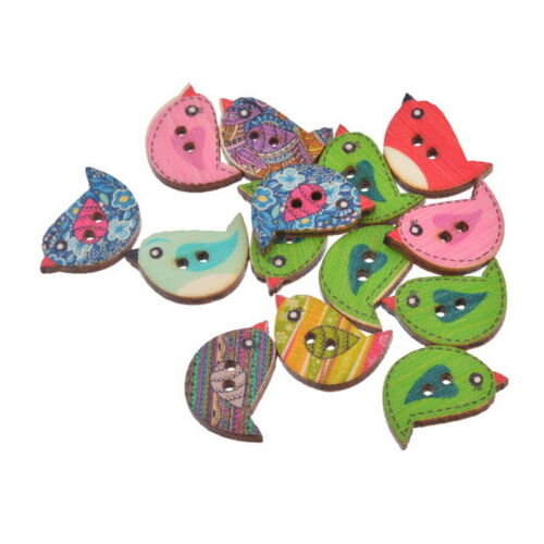 30x Craft Wood Buttons 2 Holes Cartoon Birds Sewing Scrapbooking Cardmaking