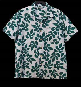 Stitch HAWAIIAN SHIRT Size L Large Aloha Camp Green White Hawaii Casual Leaves