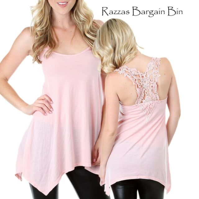 New Ladies Gorgeous Pink Top With Crocheted Back Sizes 12 & 14 (8502)DT