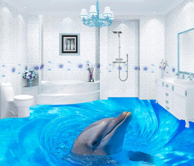 3D Smiling Dolphin Sea 8 Floor WallPaper Murals Wall Print Decal AJ WALLPAPER US