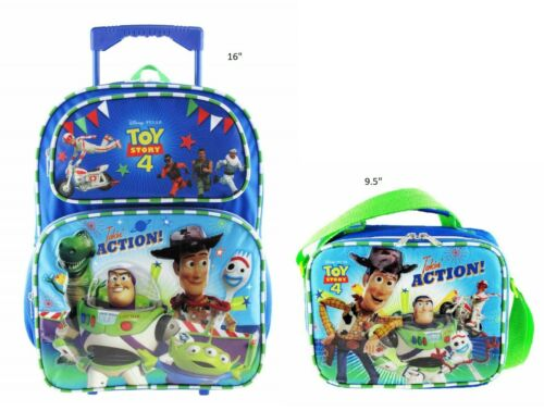 "Disney Pixar Toy Story 4 16/"" School Rolling//Roller Backpack Plus Lunch Bag"