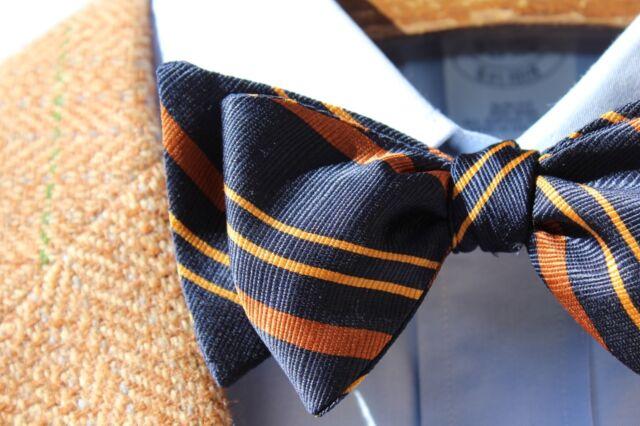 Bow Tie Club Midnight Blue & Orange Striped Self-Tie Silk Bow Tie - USA