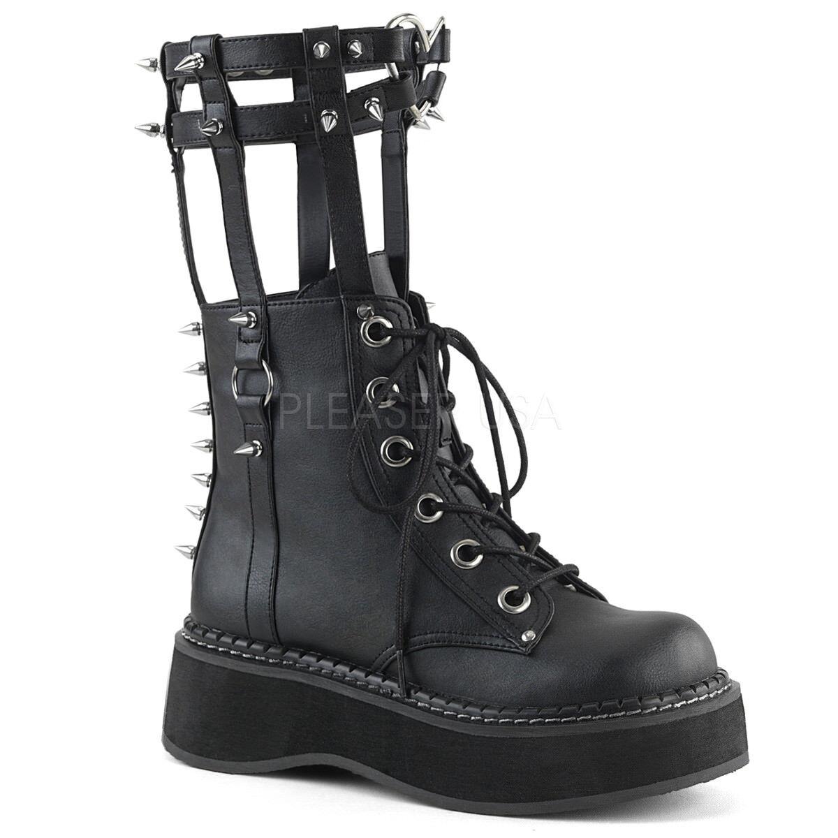 nero SteamPunk Demonia 90s Leg Harness Cage stivali scarpe Womans Dimensione 7 8 9 10 11